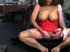 Red corset vidz on the  super sofa