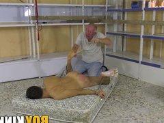 Old pervert vidz torments his  super bound submissive slave