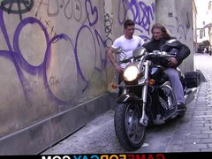 Gay slut vidz boy seduces  super hunky hetero biker
