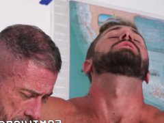 Inked hunk vidz raw fucks  super handsome young homos in stepfamily 3way