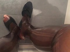 High Heels vidz Play and  super Pissing in Latex Pantyhose