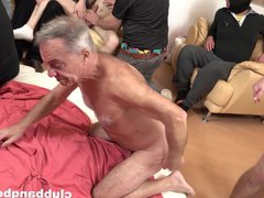 Gay orgy vidz with a  super bunch of young and old studs