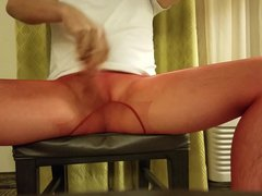 Cum in vidz red sheer  super pantyhose with glass