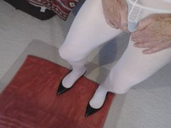 Pee and vidz cum in  super blue and white panties and hose