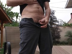 Stroking outside vidz on the  super deck and cumming on myself