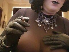 Smoking sissy vidz crossdresser tits  super boobs leather latex nylon