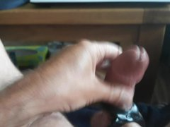A Quick vidz Jerk Off  super with Cumshot In My 8 Ball Cock Ring
