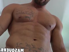 Buffed up vidz guy strokes  super his hard cock and shows his hard abs