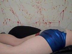MY SHINY vidz RED WHITE  super AND BLUE UNDIES CUMMING ON MY NYLON VEST!