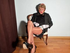 very long vidz beige nylon  super stockings and dangling