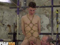 Gay sub vidz Johnny Polak  super cumshot after handjob in bondage