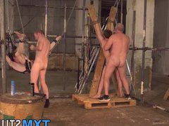 Dominant old vidz guy fucks  super with twinks in his sex dungeon