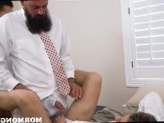 Two Young vidz Mormon Guys  super Threesome With Bearded Priest