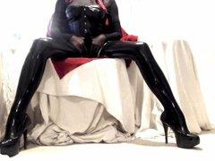 Kinky Crossdresser vidz relaxing in  super latex stockings and heels 3
