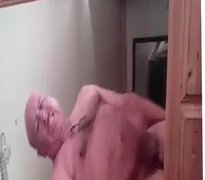 Grandpa cum vidz infront of  super mirror