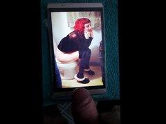 A girl vidz on a  super toilet cum tribute 60