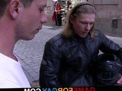 Muscle biker vidz play his  super gay game