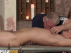 BDSM twink vidz Casper Ellis  super submits big cock to handjob cumshot