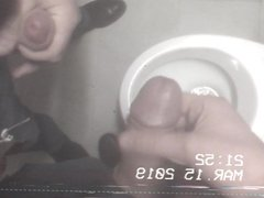 Two guys' vidz jerkoff and  super cum in a public restroom