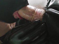 Master D vidz gets his  super cock sucked by wetlook hooded slave joy