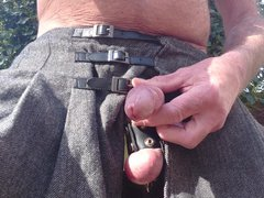 Wank & vidz Cum in  super lingerie outdoors in garden wearing cock-strap