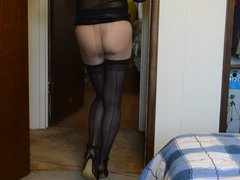 Tight Skirt vidz and Stockings  super Over Pantyhose