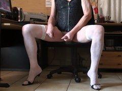 low fishnet vidz white, corset,  super high heels and cum