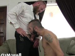 Bottom with vidz manly beard  super and tattoos drilled by macho daddy