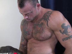 Muscular stud vidz dildo fucking  super tight FTM pussy after licking it
