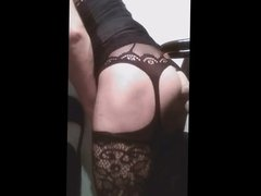 Slut crossdresser vidz black dressed  super ride a lucky dildo