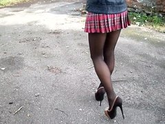 Schoolgirl Skirt, vidz Upskirt, Pantyhose  super and Heels