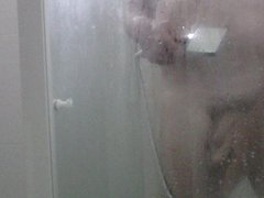 in the vidz shower with  super the plug in my ass