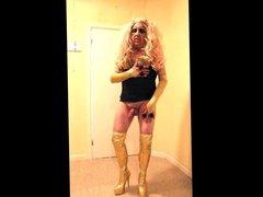 Blonde slut vidz in gold  super thigh boots