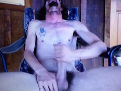 Outside skinny vidz longhaired red  super neck edging his huge hung cock