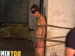 Bound blindfolded vidz twink slave  super receives handjob from master