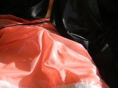 transvestite cums vidz wanking in  super kims lace trim vintage slip