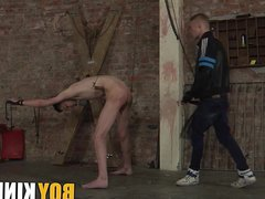 Bound skinny vidz twink spanked  super and ass fucked by gay master