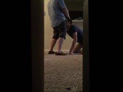 Hidden camera vidz bj, door  super open on knees