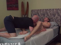 Bald hunky vidz soldier sucks  super and rides his comrades huge cock
