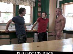 Young Twink vidz Stepson Threesome  super With Dad & Grandpa In Kitchen