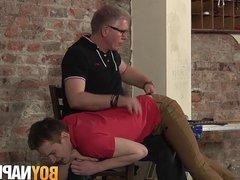 Young sub vidz Milo Millis  super spanked before cumming by handjob