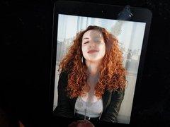 Cum tribute vidz to a  super curly redhead with huge tits