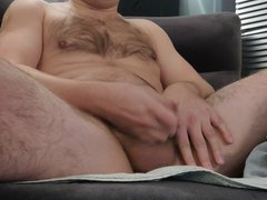Guy with vidz small dick  super jerking off and cumming in a small sock