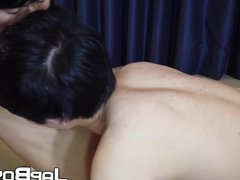 Young Japanese vidz man gives  super his lover an oral before anal