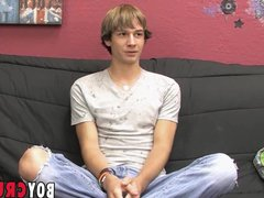 Twink jerks vidz off after  super being interviewed slowly and nicely