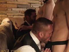 Slutty twinks vidz get drilled  super from behind by three business guys