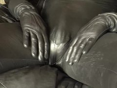 Leather catsuit vidz playing tenderly  super on the skin