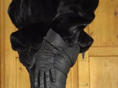 Cock in vidz leather and  super fur