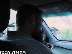 Daddy bare vidz impales his  super stepson doggy style while in the car