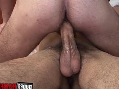 Stud jerks vidz off and  super cums on his belly while being barebacked